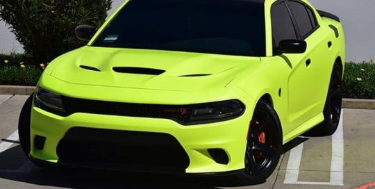 Dodge Charger wrapped in 3M Satin Neon Fluorescent Yellow vinyl