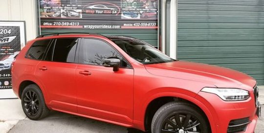 Volvo xc90 wrapped in 3M 1080 Satin Vampire Red vinyl