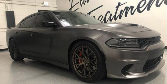 Dodge Charger wrapped in 3M 1080 Satin Dark Gray vinyl