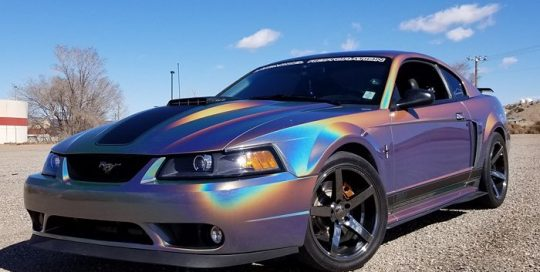 Ford Mustang wrapped in 3M ColorFlip Psychedelic shade shifting vinyl