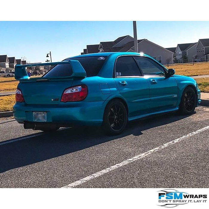 Subaru Wrx wrapped in 3M 1080 Gloss Atomic Teal Vinyl