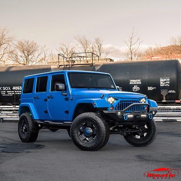 Jeep Wrangler wrapped in 3M 1080 Matte Blue Metallic vinyl