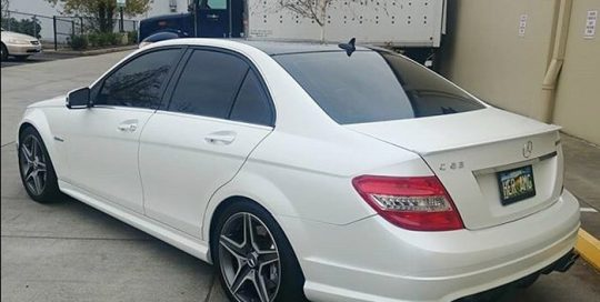 Mercedes Benz C63 wrapped in Avery SW Satin Pearl White vinyl