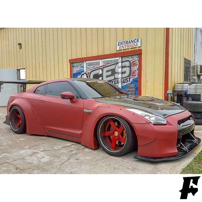 Nissan Gtr wrapped in 3M 1080 Matte Red Metallic vinyl