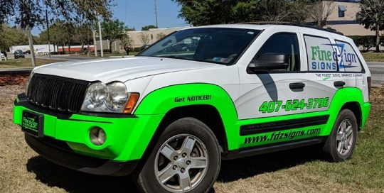 Jeep Cherokee wrapped in Avery 1105EZRS vinyl and 3M Satin Fluorescent Neon Green vinyl
