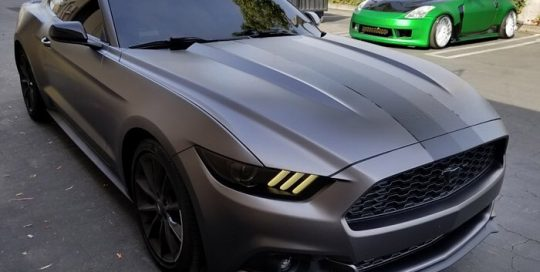 Ford Mustang wrapped in 3M 1080 Satin Dark Gray vinyl