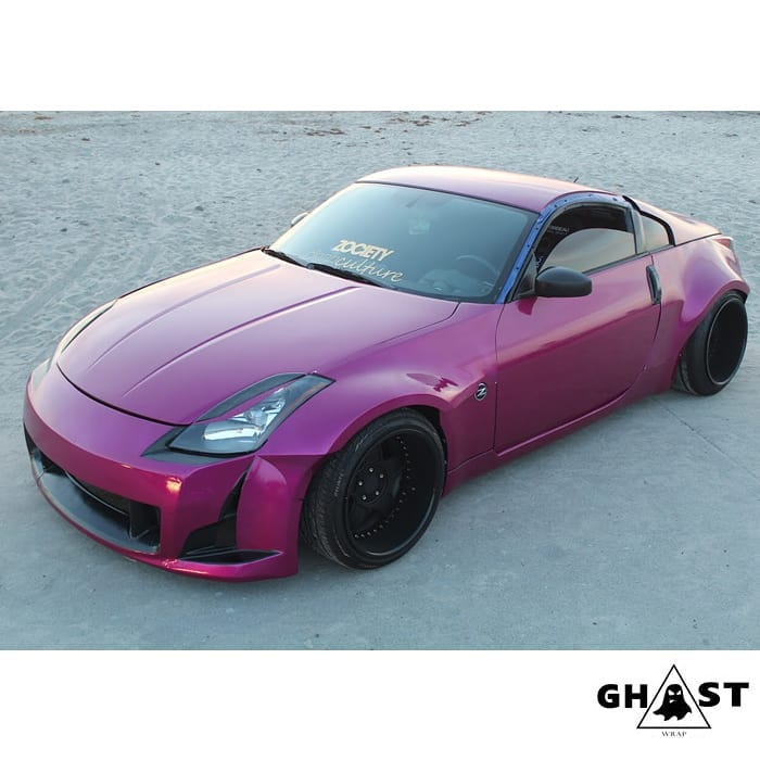 Nissan 350z wrapped in 3M 1080 Gloss Fierce Fuchsia vinyl