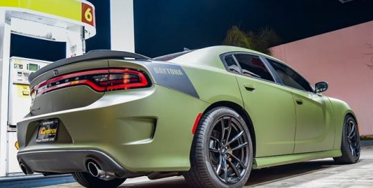 Dodge Charger wrapped in 3M 1080 Matte Military Green vinyl