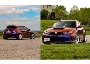 Subaru Wrx wrapped in Avery ColorFlow Gloss Roaring Thunder Blue/Red shade shifting vinyl