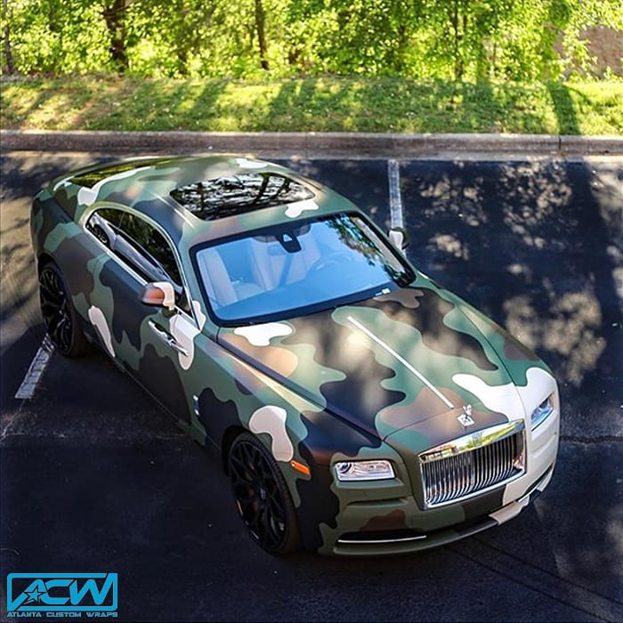 Rolls Royce Wraith wrapped in 3M 1080 Matte Military Green, Matte Deep Black, and Gloss Ivory with 8520 Matte Overlaminate vinyls