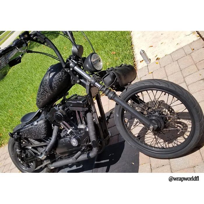 Harley Davidson wrapped in 3M Shadow Black vinyl