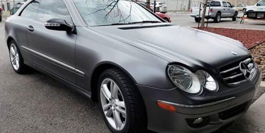 Mercedes Benz Clk350 wrapped in 3M 1080 Satin Dark Gray vinyl