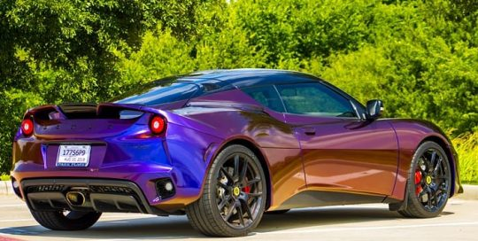 Lotus Evora wrapped in Avery ColorFlow Gloss Roaring Thunder Blue/Red shade shifting vinyl