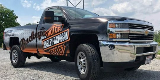 Chevrolet Silverado wrapped in using custom printed Avery 1105 vinyl
