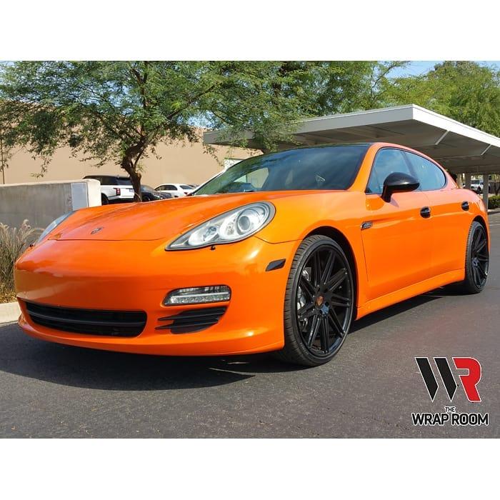 Porsche Panarama wrapped in Avery SW Gloss Orange vinyl