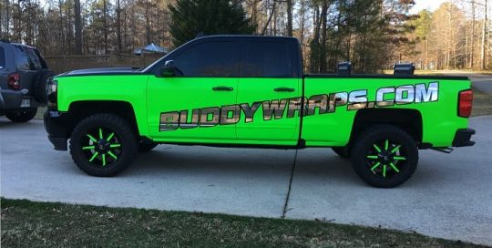 Ford F150 wrapped in 3M Neon Fluorescent Green vinyl with Avery SW Silver Chrome & Matte Black vinyl