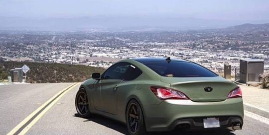 Hyundai Genesis wrapped in 3M 1080 Matte Military Green vinyl