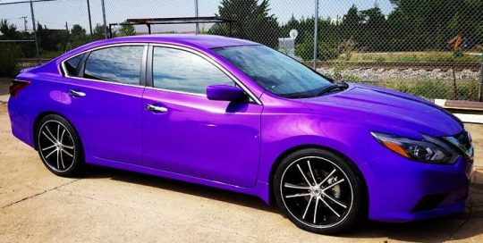 Nissan Altima wrapped in 3M 1080 Gloss Plum Explosion vinyl