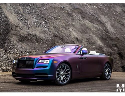 Rolls Royce Dawn wrapped in Avery ColorFlow Satin Rushing Riptide Cyan/Purple shade shifting vinyl