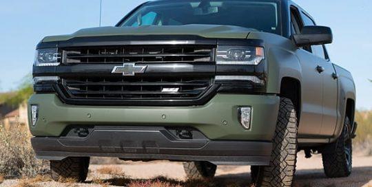 Chevrolet Silverado wrapped in 3M 1080 Matte Military Green vinyl