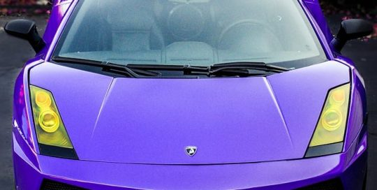 Lamborghini Gallardo wrapped in 3M 1080 Gloss Plum Explosion and Shadow Black vinyl