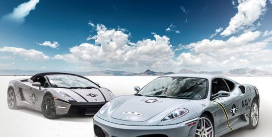 Ferrari F430 wrapped in 3M 1080 Satin Battleship Gray and Lambo Gallardo in 3M 1080 Matte Gray Aluminum vinyls