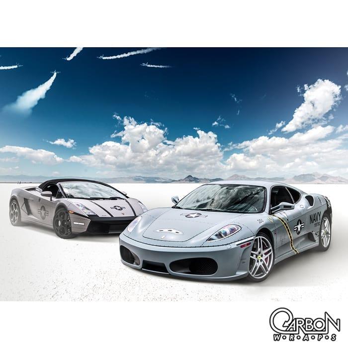 Ferrari F430 wrapped in 3M 1080 Satin Battleship Gray and Lambo Gallardo in 3M 1080 Matte Gray Aluminum vinyls