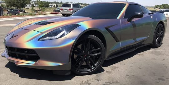 Chevrolet Corvette wrapped in 3M ColorFlip Psychedelic shade shifting vinyl
