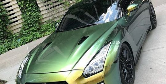 Nissan Gtr wrapped in Avery ColorFlow Gloss Fresh Spring Gold/Silver shade shifting vinyl