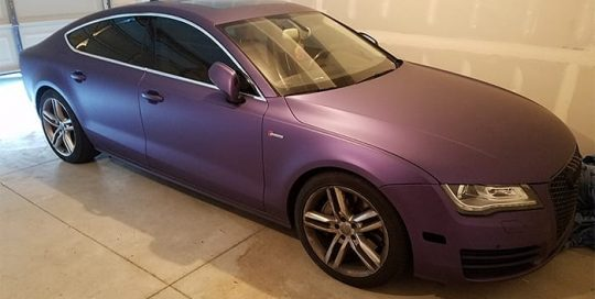 Audi A7 wrapped in Avery SW Matte Purple Metallic vinyl