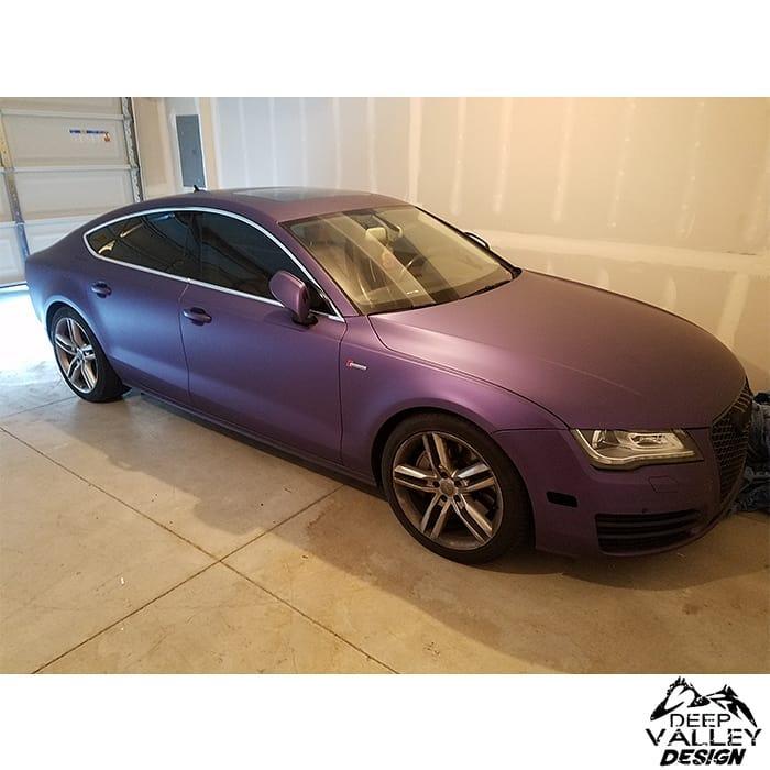Audi A7 wrapped in Avery SW Matte Purple Metallic vinyl