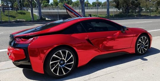Bmw I8 wrapped in Avery SW Red Chrome vinyl