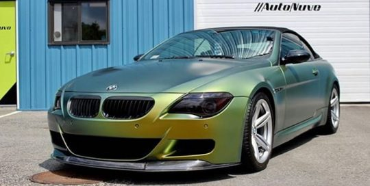 Bmw M6 wrapped in Avery ColorFlow Satin Fresh Spring Gold/Silver shade shifting vinyl