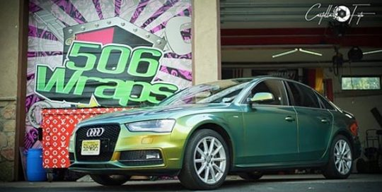 Audi wrapped in Avery ColorFlow Gloss Fresh Spring Gold/Silver shade shifting vinyl