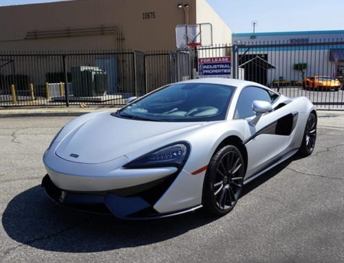 Mclaren 570s wrapped in 3M 1080 Satin White Aluminum vinyl