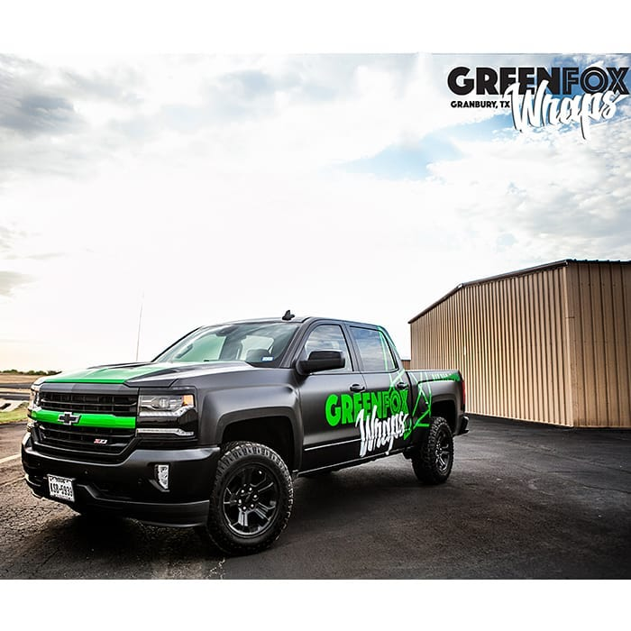 Chevrolet wrapped in Avery SW Satin Black and Arlon Green Chrome vinyls
