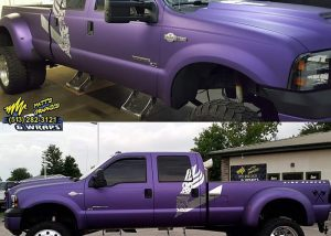 Ford F350 wrapped in Avery SW Matte Purple Metallic and Silver Chrome vinyls