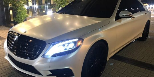 Mercedes Benz wrapped in 3M 1080 Satin Pearl White vinyl