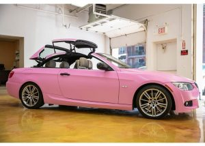 Bmw 3Series wrapped in Avery ColorFlow Satin Bubblegum Pink vinyl