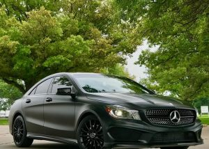Mercedes Benz wrapped in 3M 1080 Satin Black vinyl