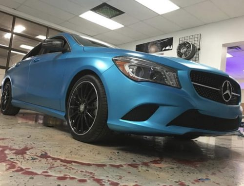 Mercedes Benz wrapped in  3M 1080 Satin Perfect Blue vinyl