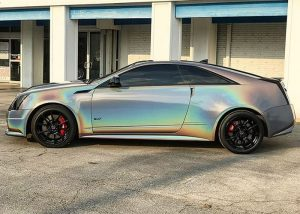 Cadillac Ctsv wrapped in 3M ColorFlip Psychedelic shade shifting vinyl