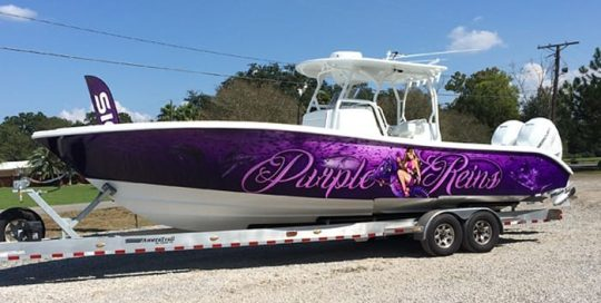 Boat wrapped in printed Avery 1105 vinyl