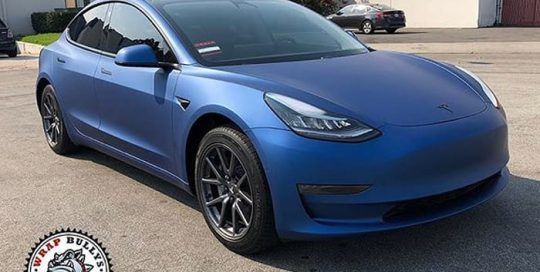 Tesla Model 3 wrapped in Avery SW Matte Blue Metallic vinyl