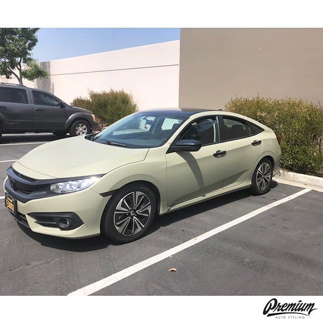 Honda Civic wrapped in Avery SW Matte Khaki Green vinyl
