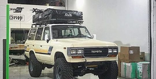 Toyota Landcruiser wrapped in Orafol 970RA Gloss Taxi Beige vinyl