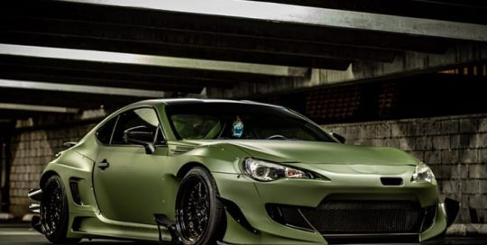 Subaru Brz wrapped in 3M 1080 Matte Military Green vinyl