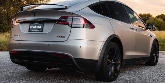 Tesla Model X wrapped in 3M 1080 Matte Dark Gray vinyl