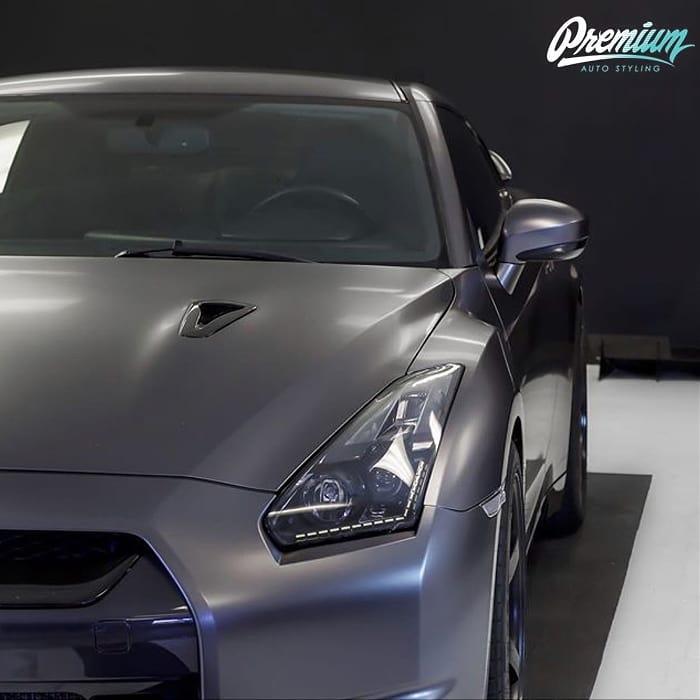 Nissan GTR wrapped in 3M 1080 Satin Dark Gray vinyl