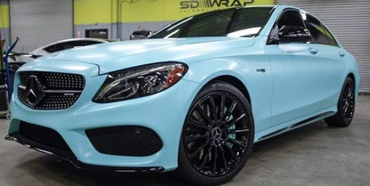 Mercedes Benz wrapped in 3M 1080 Satin Key West vinyl